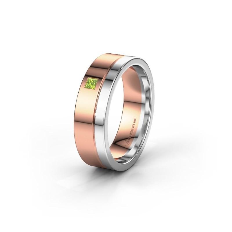Trouwring WH0301L16APSQ 585 rosé goud peridoot ±6x1.7 mm