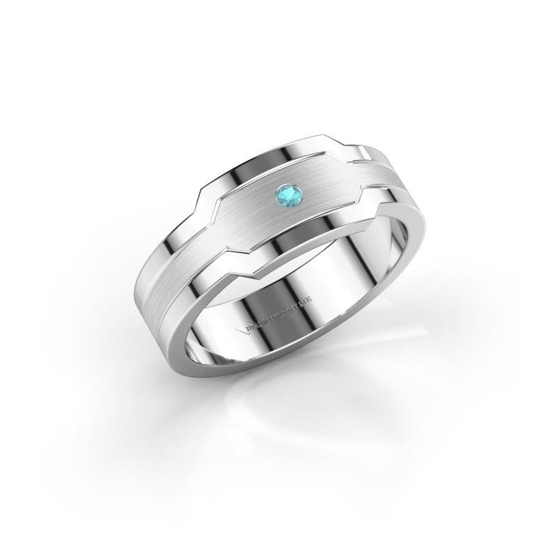 Men's ring Guido 950 platinum blue topaz 2 mm