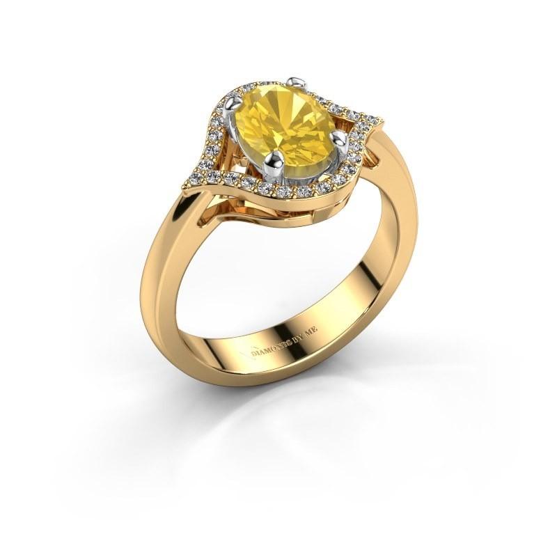 Ring Mendy 585 goud gele saffier 8x6 mm