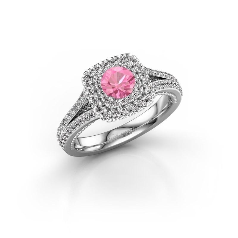 Verlobungsring Annette 585 Weißgold Pink Saphir 5 mm