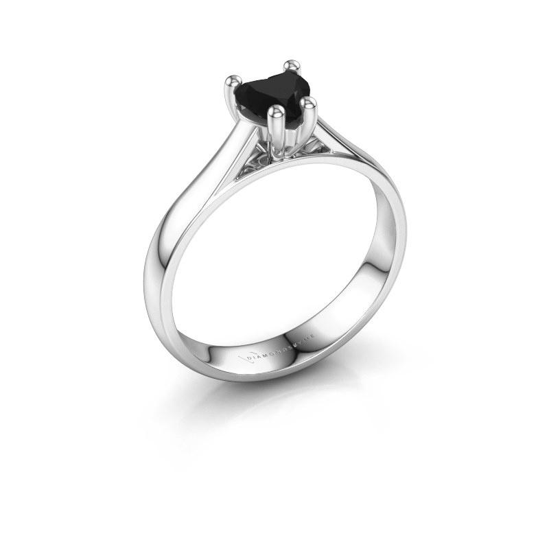 Engagement ring Sam Heart 585 white gold black diamond 0.65 crt
