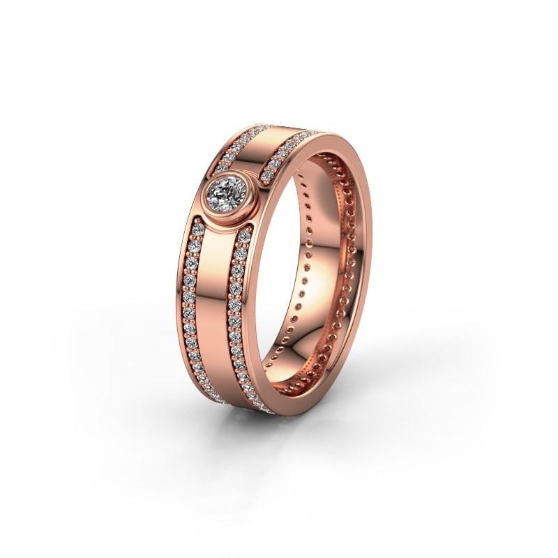 Trouwring WH2044P 375 rosé goud diamant ±6x2 mm