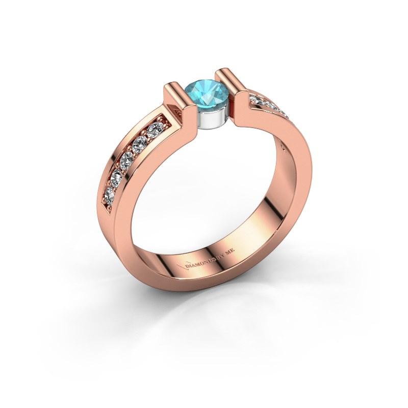 Verlovingsring Isabel 2 585 rosé goud blauw topaas 4 mm