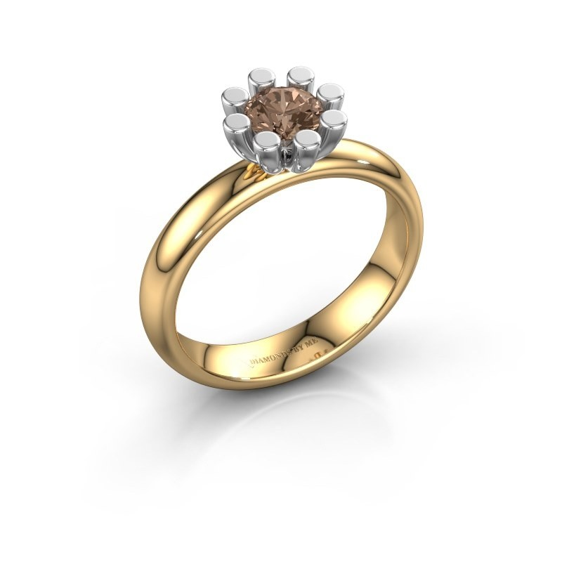 Stapelring Carola 1 585 goud bruine diamant 0.50 crt