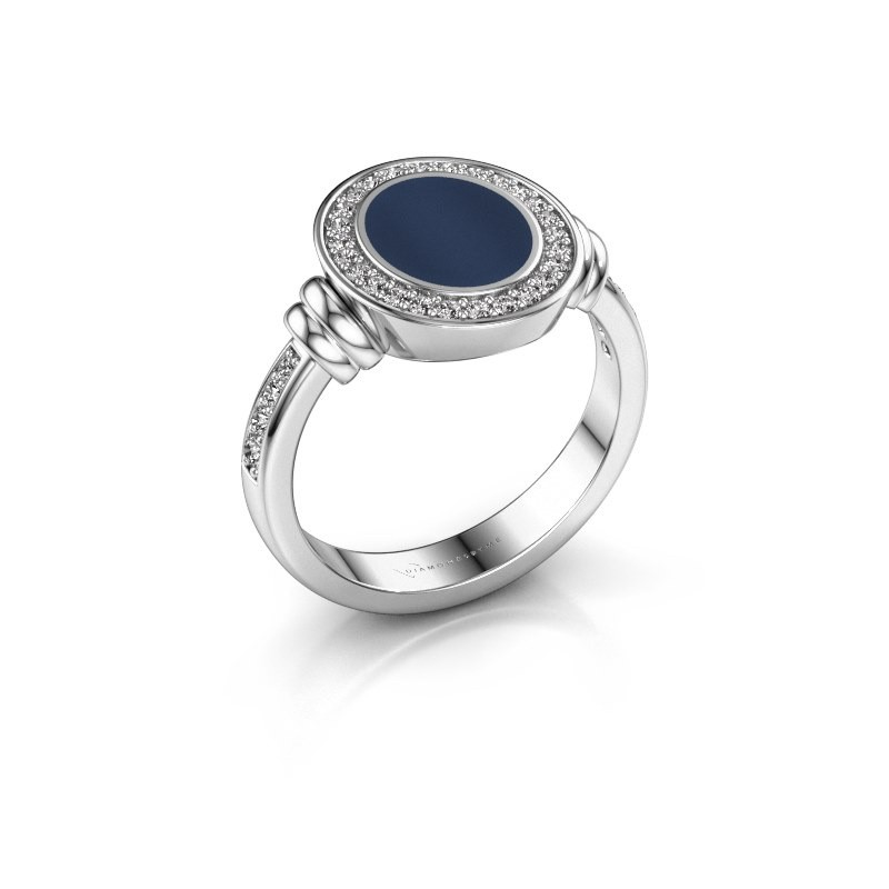 Signet ring Bailey 925 silver dark blue sardonyx 10x8 mm