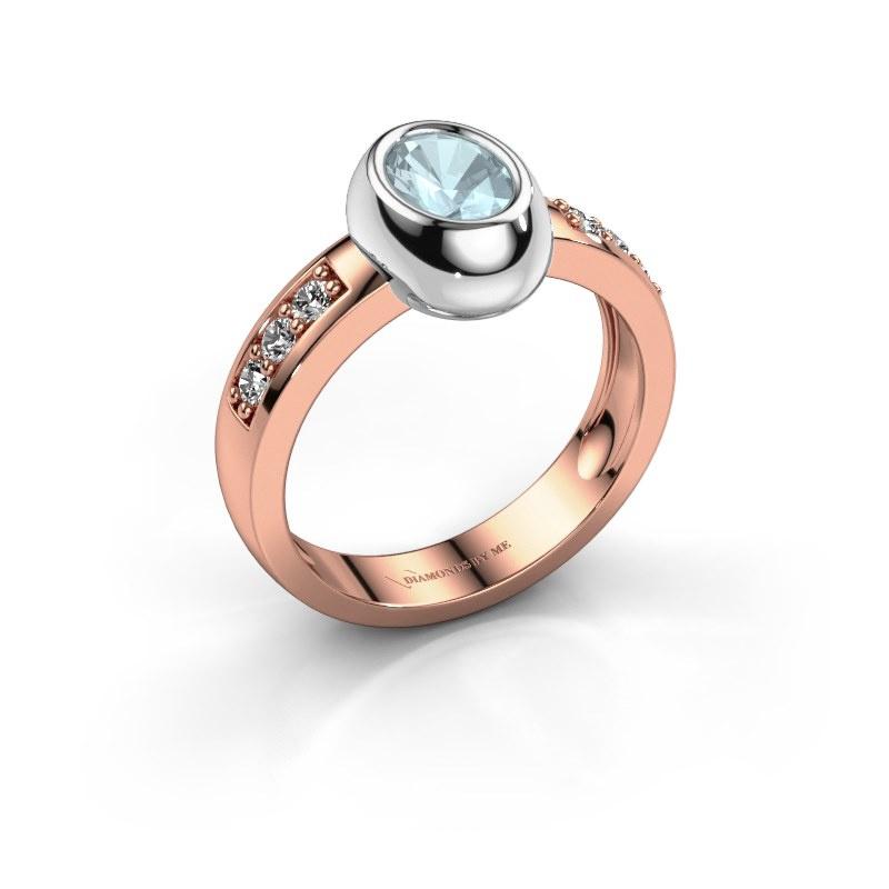 Ring Charlotte Oval 585 rose gold aquamarine 7x5 mm