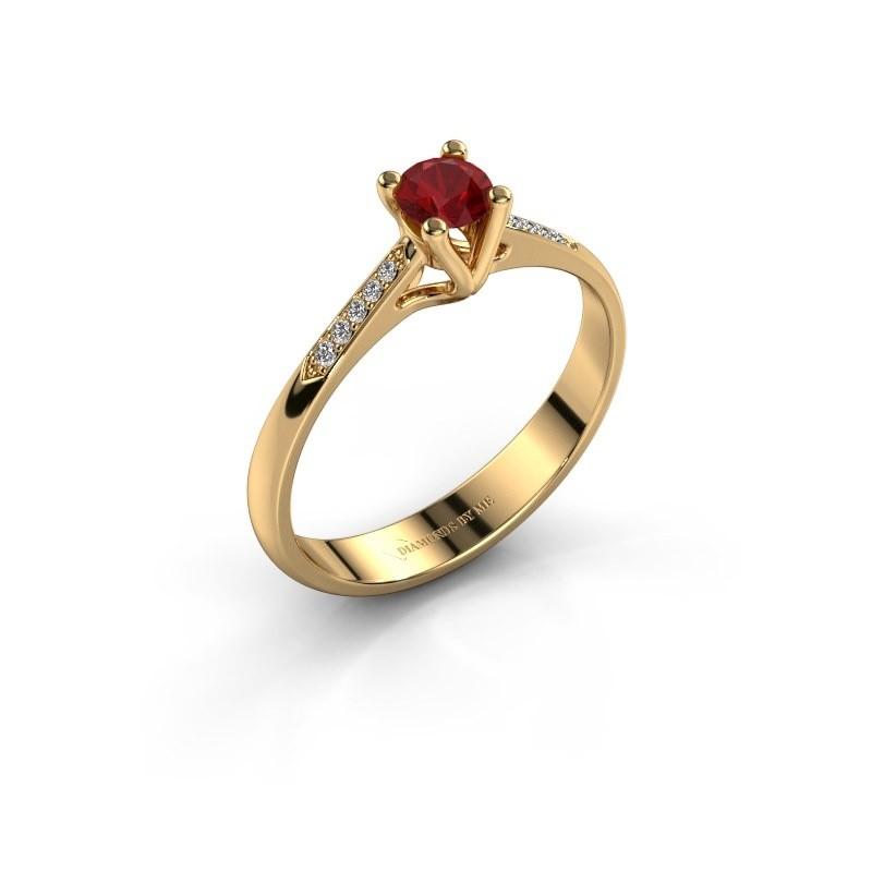 Promise ring Janna 2 375 goud robijn 4 mm