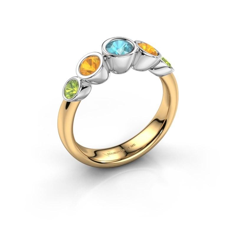 Ring Lizz 585 goud blauw topaas 4 mm