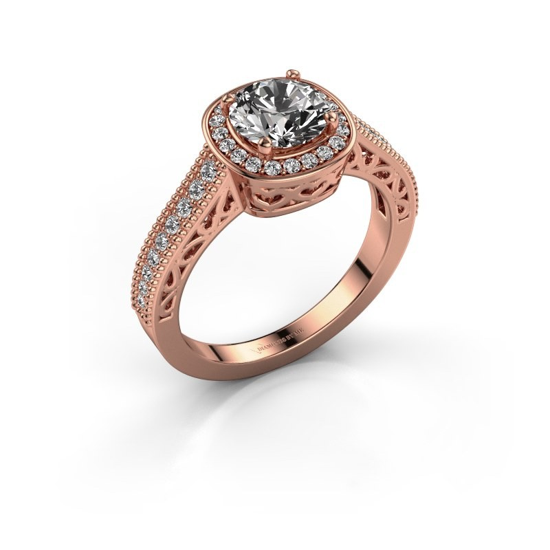 Engagement ring Candi 375 rose gold diamond 1.336 crt
