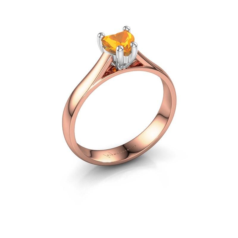 Engagement ring Sam Heart 585 rose gold citrin 5 mm