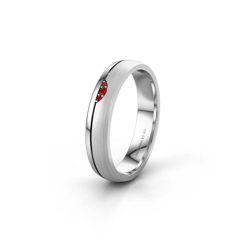 Wedding ring WH0334L24X 950 platinum ruby ±4x1.5 mm