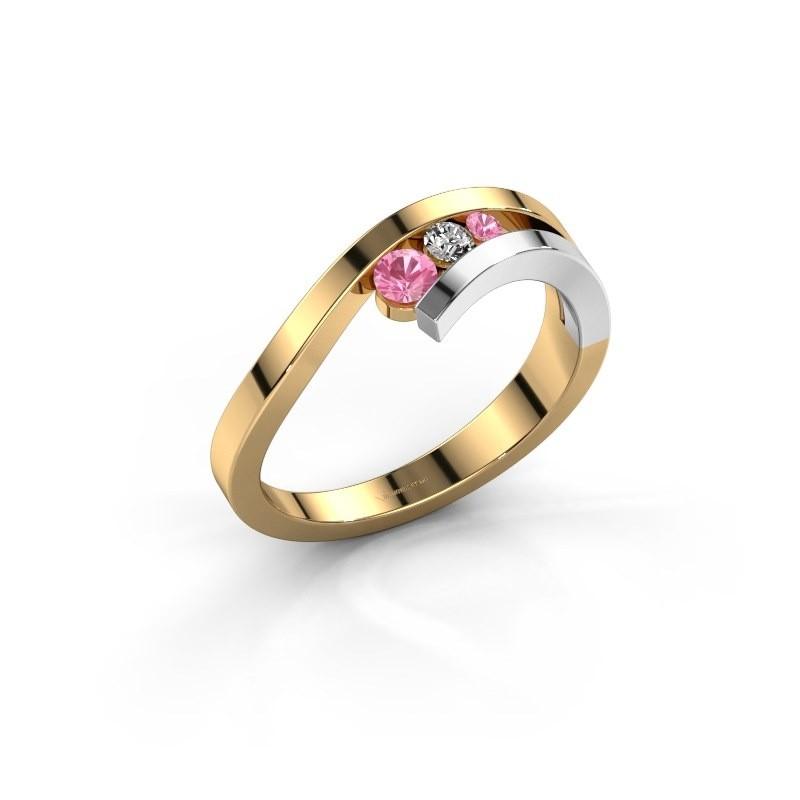 Ring Evalyn 2 585 goud roze saffier 2.8 mm