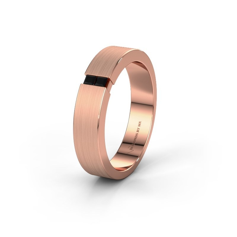 Wedding ring WH2136M15E 375 rose gold black diamond ±5x2.4 mm