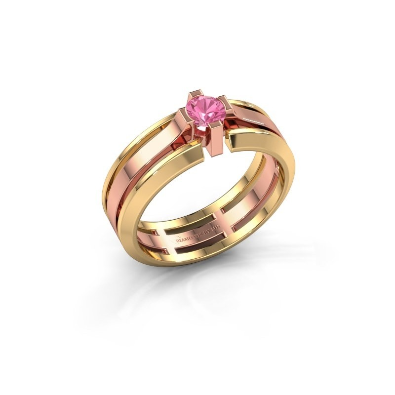 Heren ring Sem 585 rosé goud roze saffier 4.7 mm