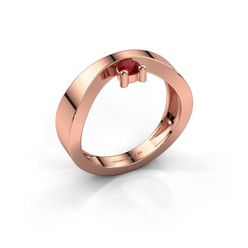 Verlovingsring Elisabeth 375 rosé goud robijn 3.4 mm