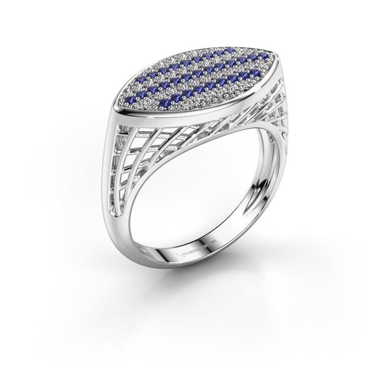 Ring Mireille 375 witgoud saffier 1.1 mm