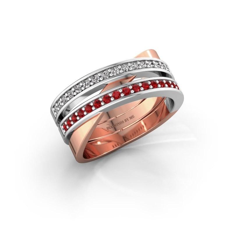 Ring Margje 585 rosé goud robijn 1.3 mm