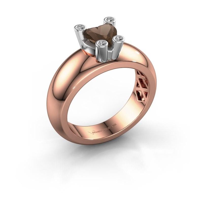 Ring Cornelia Heart 585 Roségold Rauchquarz 6 mm