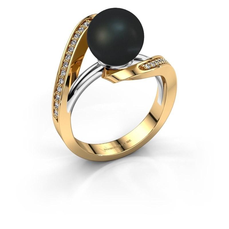Ring Amber 585 goud zwarte parel 9 mm