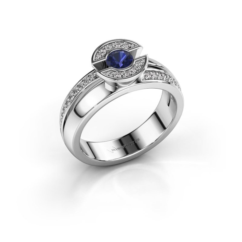 Ring Jeanet 2 925 zilver saffier 4 mm