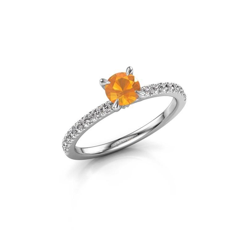 Verlovingsring Crystal rnd 2 950 platina citrien 5 mm