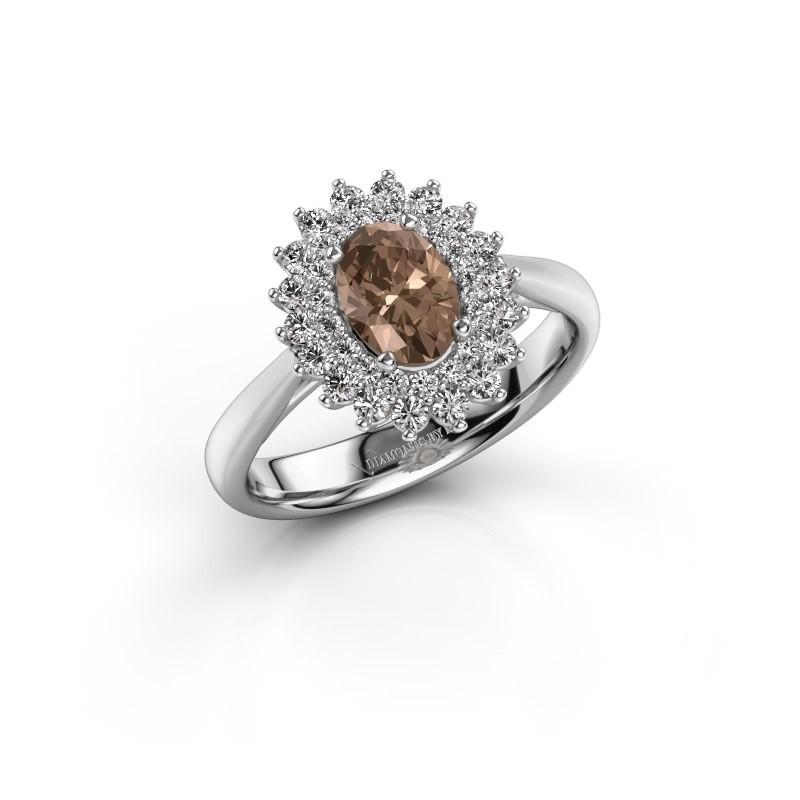 Verlovingsring Alina 1 585 witgoud bruine diamant 0.80 crt