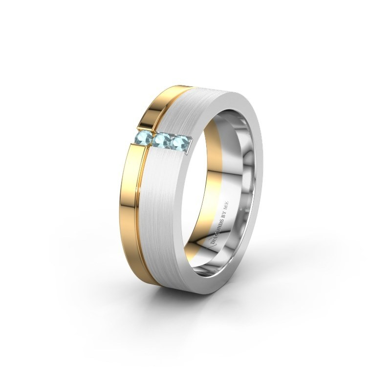Wedding ring WH0327L16B 585 white gold aquamarine ±0.24x0.08 in