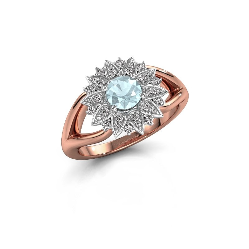 Verlovingsring Chasidy 1 585 rosé goud aquamarijn 5 mm