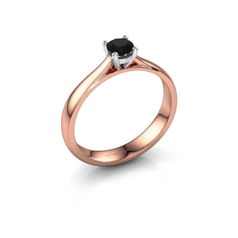 Bague de fiançailles Sam 585 or rose diamant noir 0.36 crt