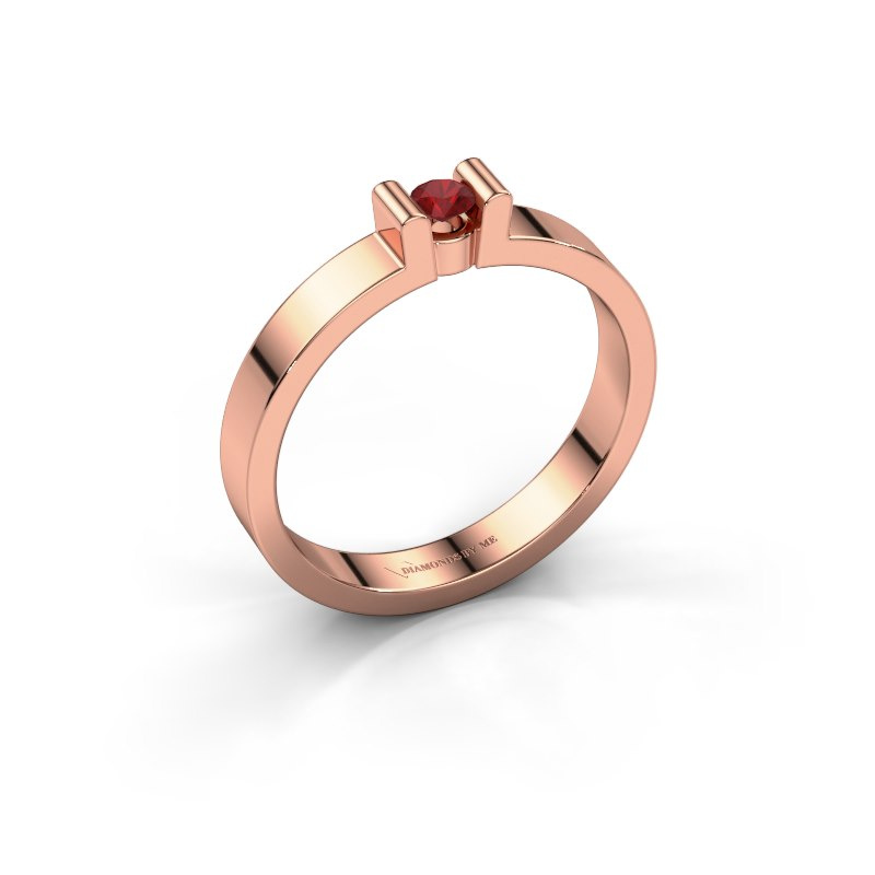 Verlovingsring Sofie 1 585 rosé goud robijn 3 mm