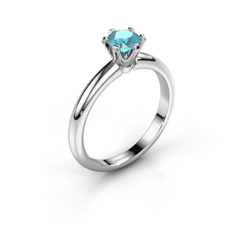 Verlovingsring Tiffy 1 585 witgoud blauw topaas 5 mm
