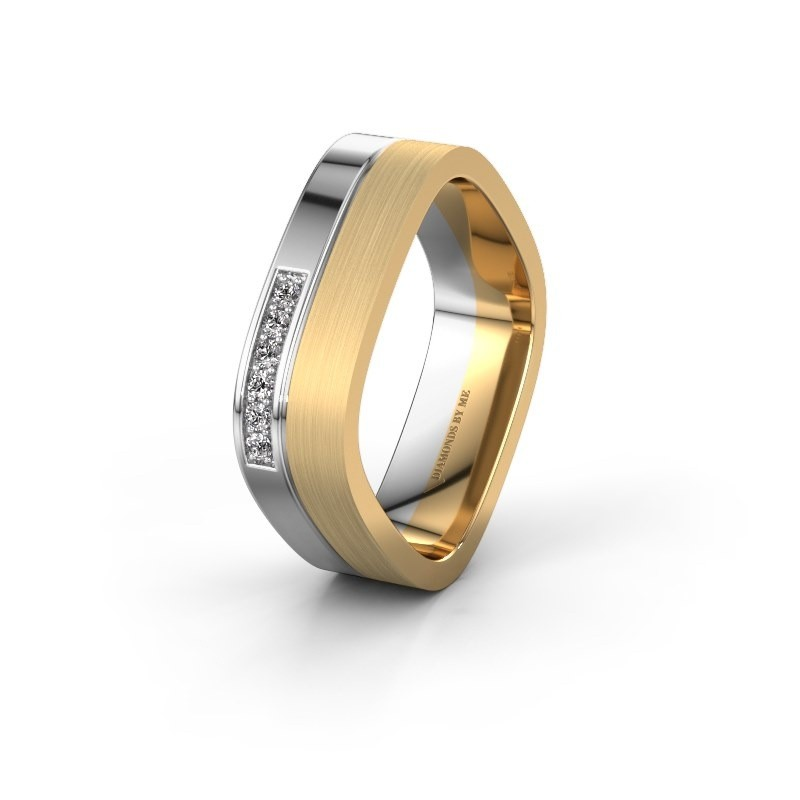 Wedding ring WH6030L16A 585 white gold lab-grown diamond ±6x1.7 mm