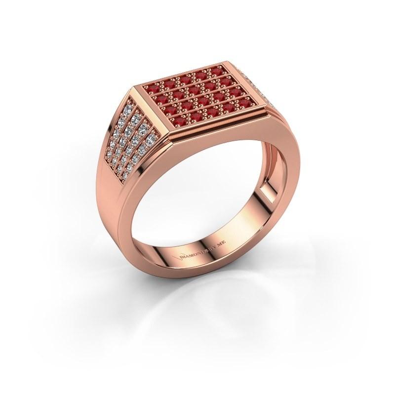 Men's ring Tim 375 rose gold ruby 1.5 mm
