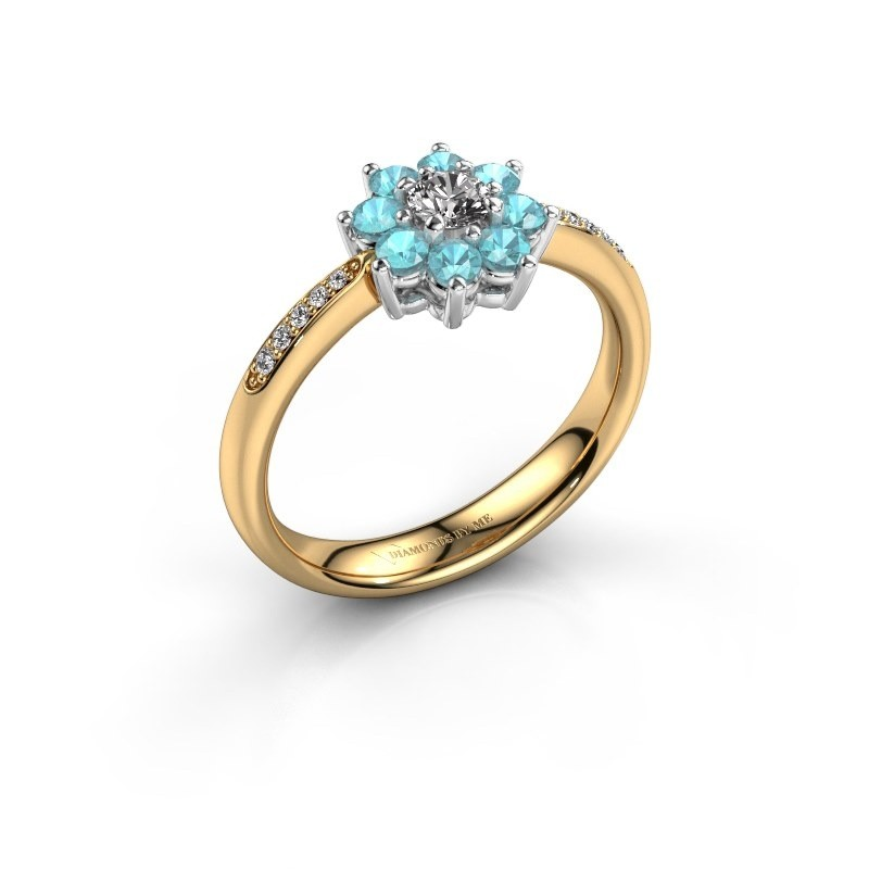 Verlovingsring Camille 2 585 goud blauw topaas 3.4 mm