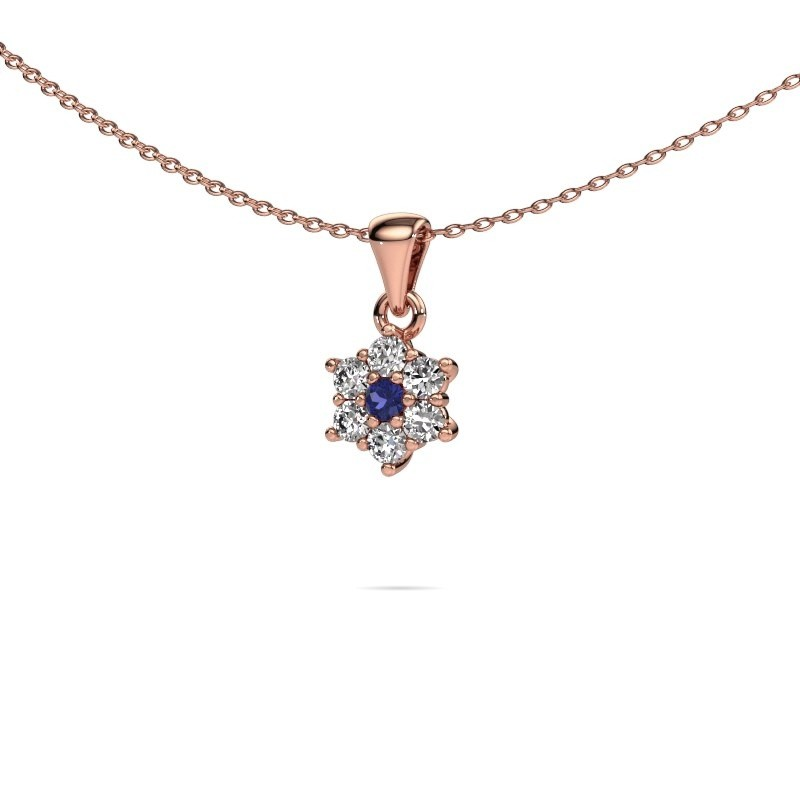Ketting Chantal 375 rosé goud saffier 2.4 mm