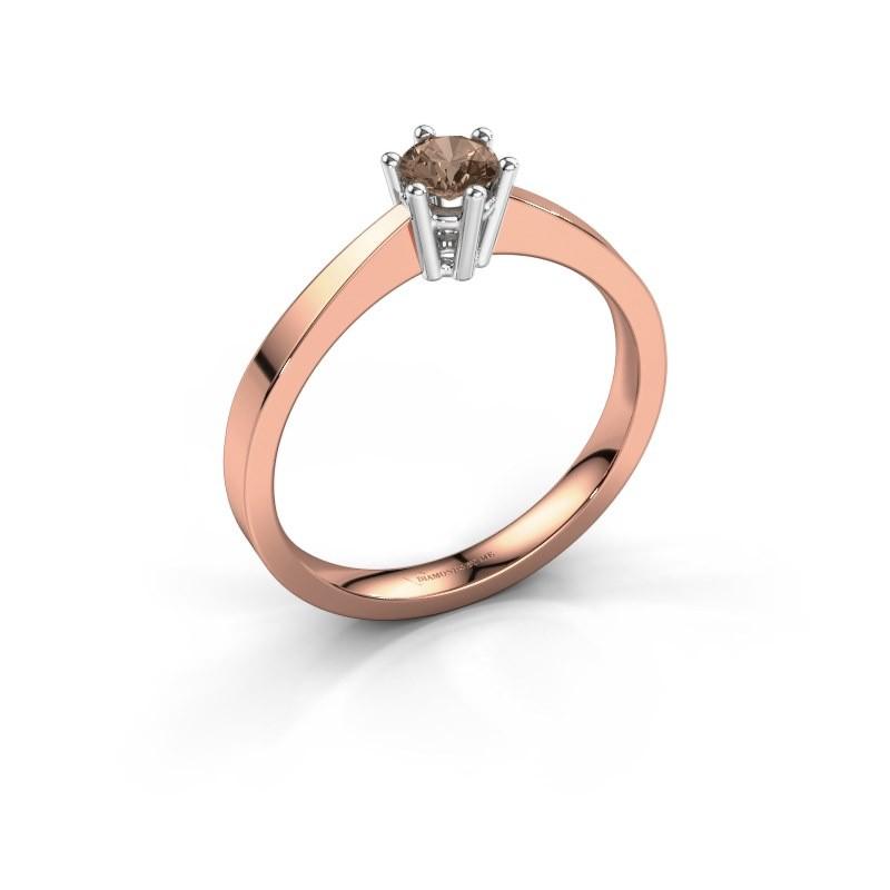 Verlovingsring Noortje 585 rosé goud bruine diamant 0.25 crt