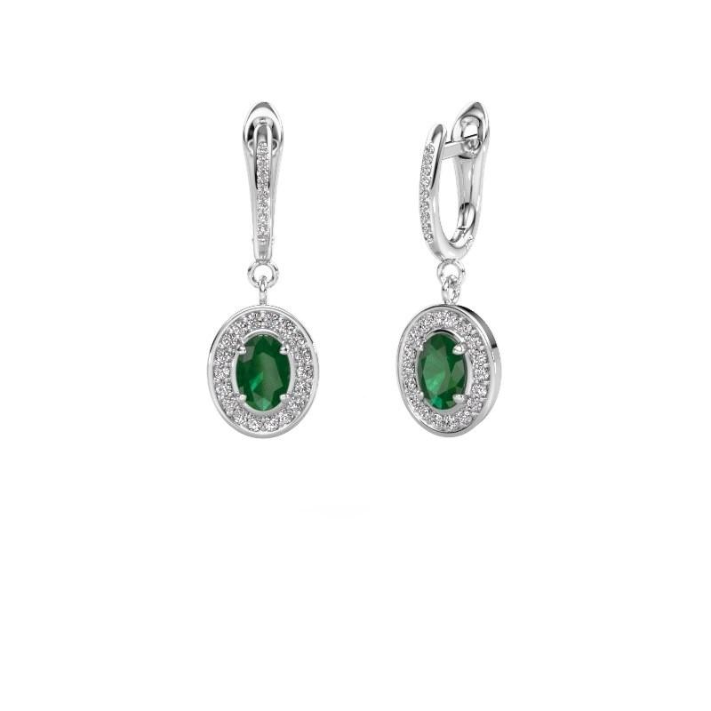 Oorhangers Layne 2 585 witgoud smaragd 7x5 mm