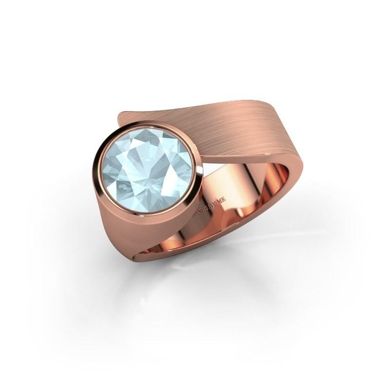 Ring Nakia 375 rosé goud aquamarijn 8 mm