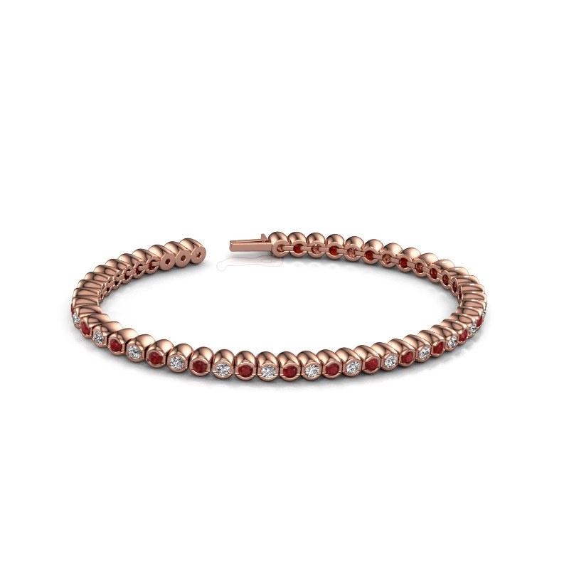 Tennisarmband Bianca 2.4 mm 375 rosé goud robijn 2.4 mm