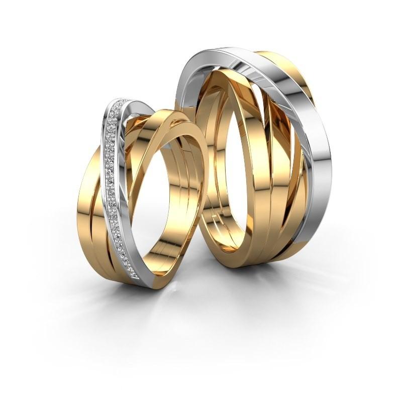 Trouwringen Set Whr004lm 6x2 8 Mm 14 Karaat Witgoud Diamant 0 005 Crt
