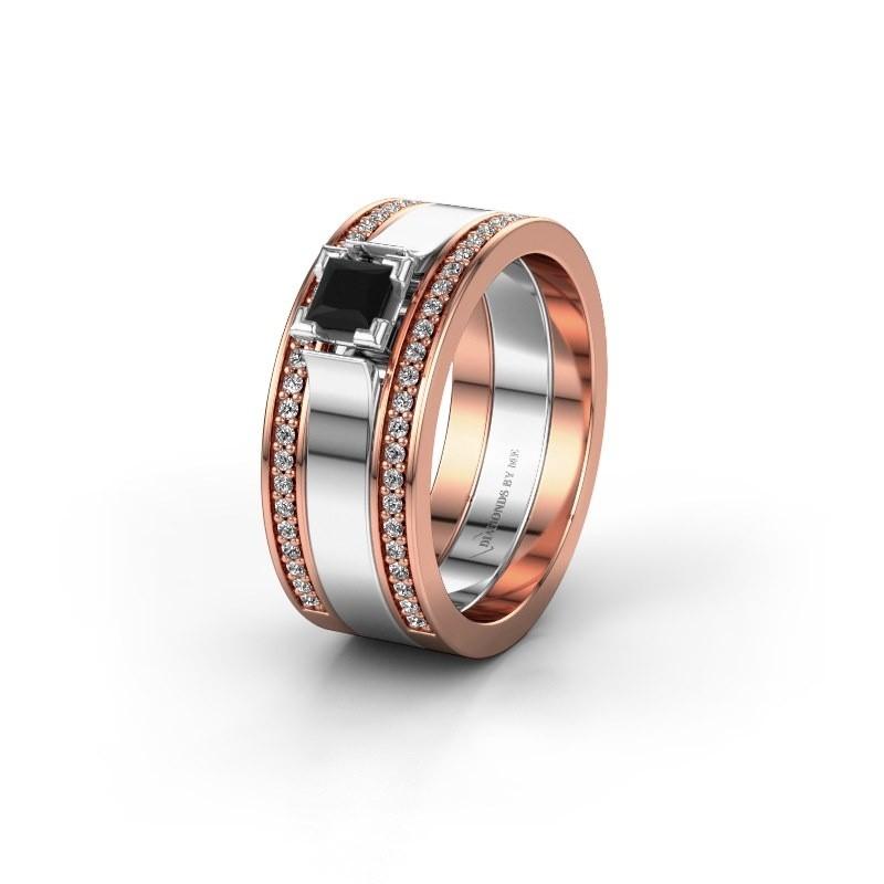 Trouwring WH2121L 585 rosé goud zwarte diamant ±8x1.7 mm