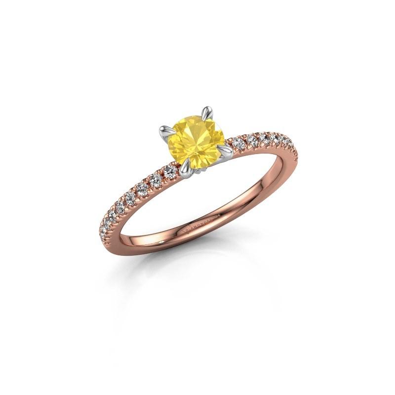 Verlobungsring Crystal rnd 2 585 Roségold Gelb Saphir 5 mm