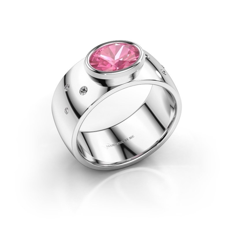 Ring Wilma 2 950 platina roze saffier 8x6 mm