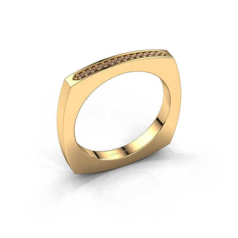 Bague superposable Ashley 585 or jaune diamant brun 0.065 crt