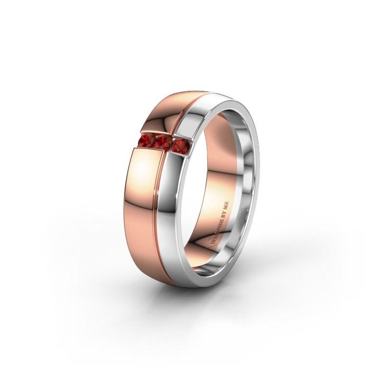 Trouwring WH0223L56A 585 rosé goud granaat ±6x1.7 mm