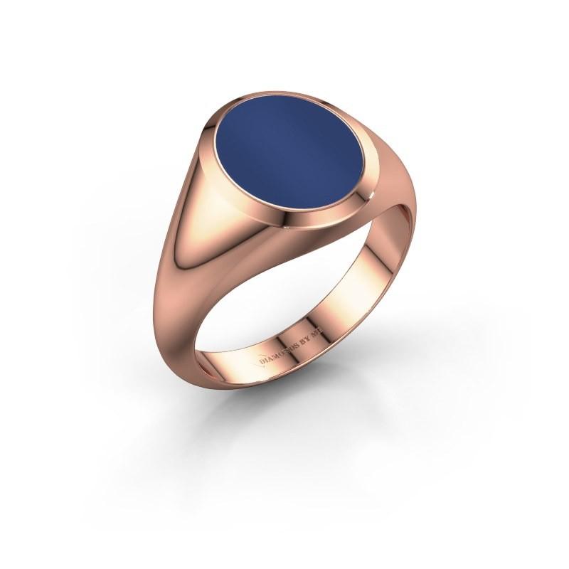 Zegelring Evon 2 375 rosé goud lapis lazuli 12x10 mm