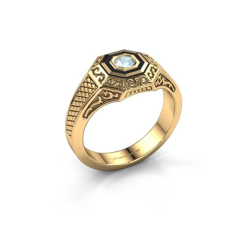 Heren ring Dion 585 goud aquamarijn 4 mm