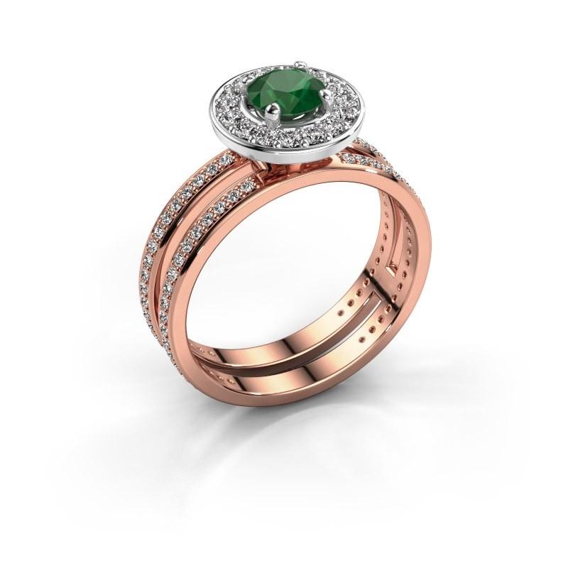 Verlobungsring Shila 585 Roségold Smaragd 5 mm