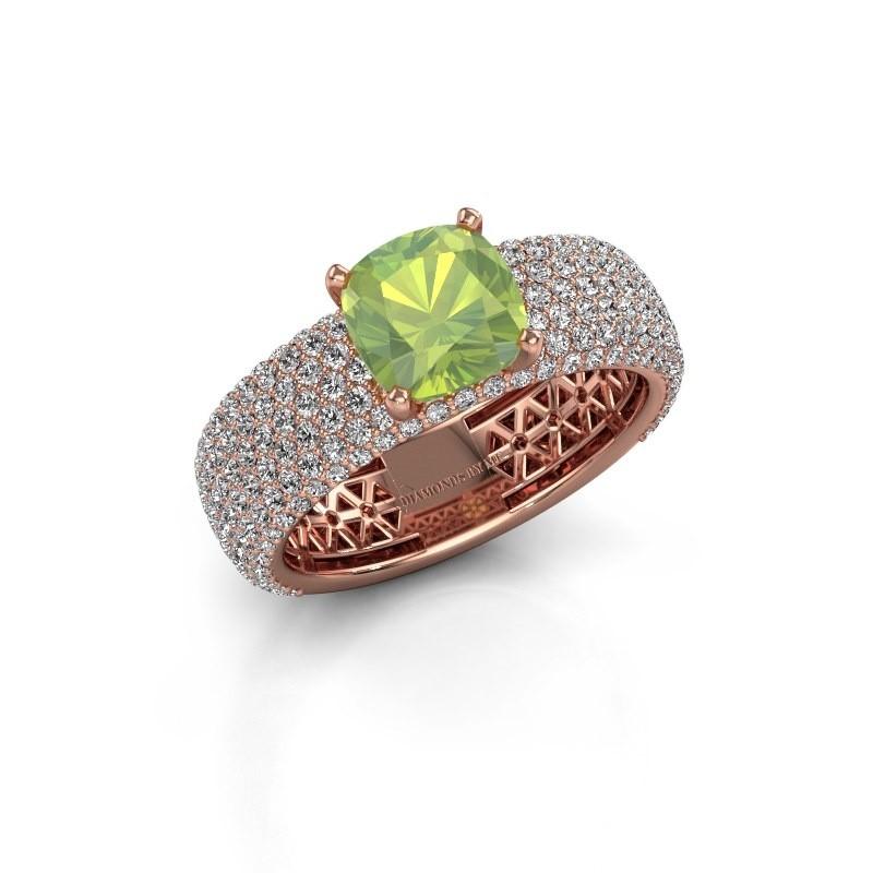 Verlovings ring Darcy 375 rosé goud peridoot 7 mm