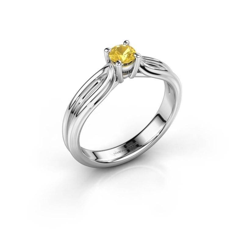 Engagement ring Antonia 1 950 platinum yellow sapphire 4 mm
